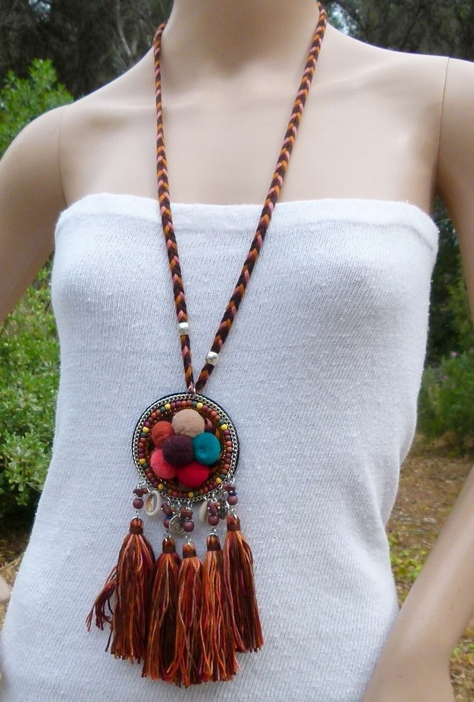red hollow implosion bead orange and turquoise blue Ibiza necklace