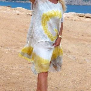 batik kleid leinen